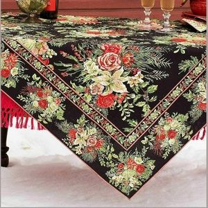 APRIL CORNELL MERRY BLACK FLORAL TABLECLOTH